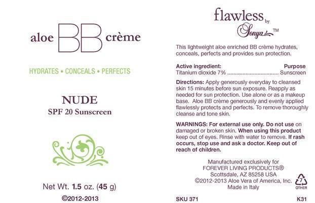 flawless by Sonya aloe BB creme NUDE SPF 20 Sunscreen